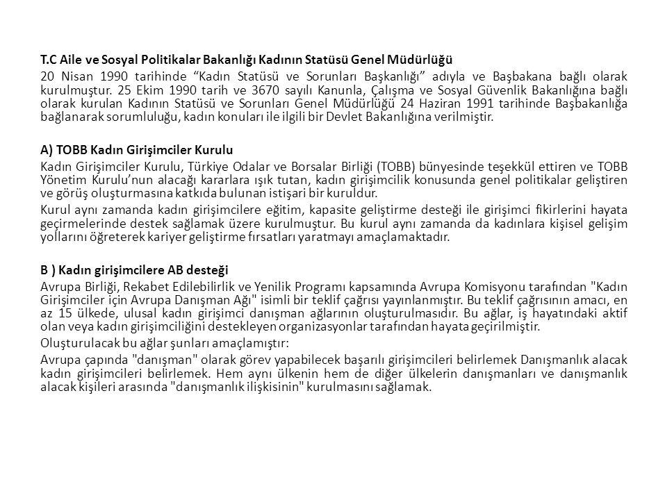 T.C Aile ve Sosyal Politikalar Bakanlığı Kadının Statüsü Genel Müdürlüğü