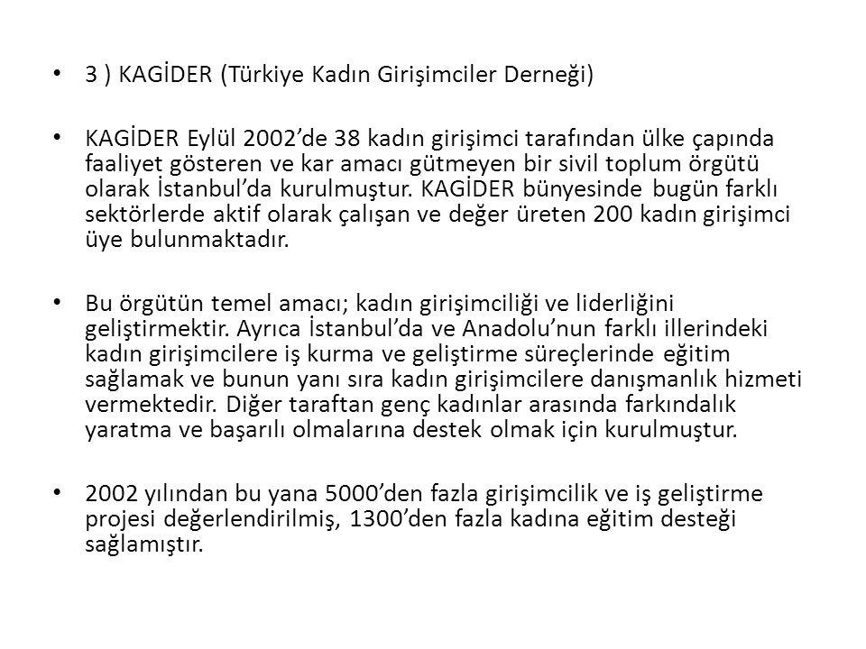 3 ) KAGİDER (Türkiye Kadın Girişimciler Derneği)