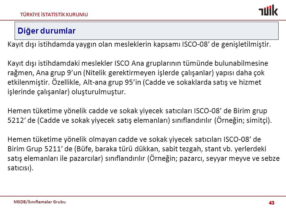 Diğer durumlar Kayıt dışı istihdamda yaygın olan mesleklerin kapsamı ISCO-08' de genişletilmiştir.