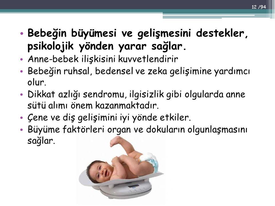 Bebeğin büyümesi ve gelişmesini destekler, psikolojik yönden yarar sağlar.