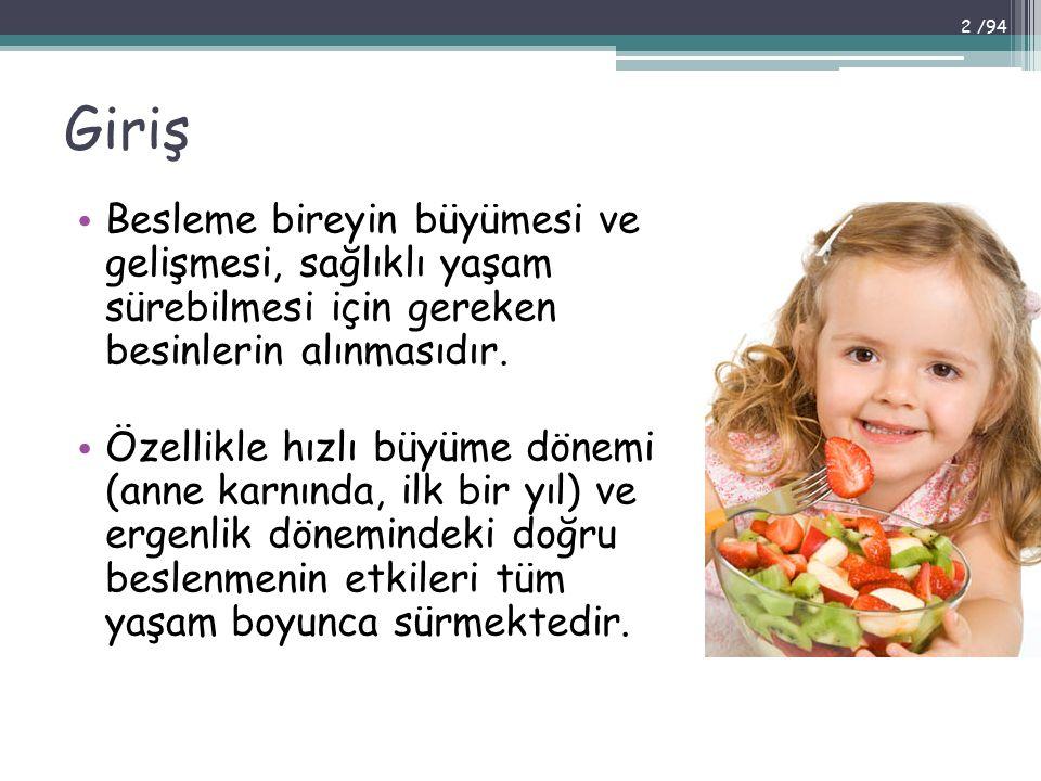 Giriş Besleme bireyin büyümesi ve gelişmesi, sağlıklı yaşam sürebilmesi için gereken besinlerin alınmasıdır.