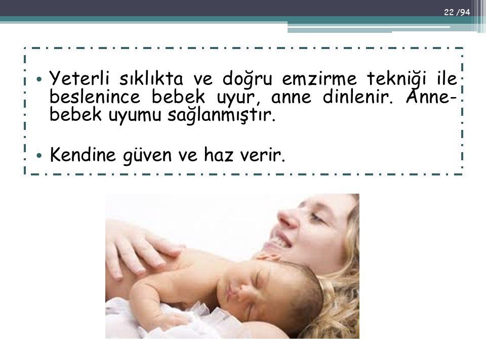 Yeterli sıklıkta ve doğru emzirme tekniği ile beslenince bebek uyur, anne dinlenir. Anne- bebek uyumu sağlanmıştır.