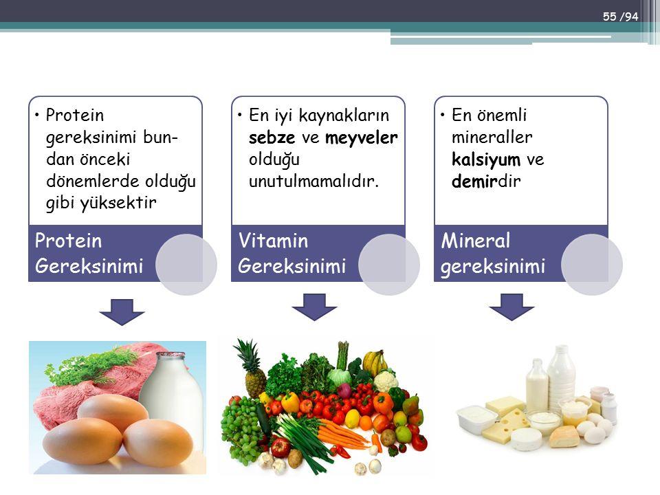 Protein Gereksinimi Vitamin Gereksinimi Mineral gereksinimi