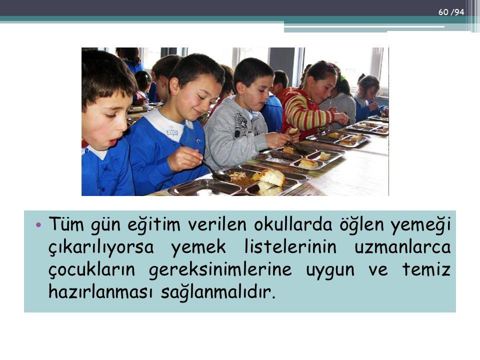 Tüm gün eğitim verilen okullarda öğlen yemeği çıkarılıyorsa yemek listelerinin uzmanlarca çocukların gereksinimlerine uygun ve temiz hazırlanması sağlanmalıdır.
