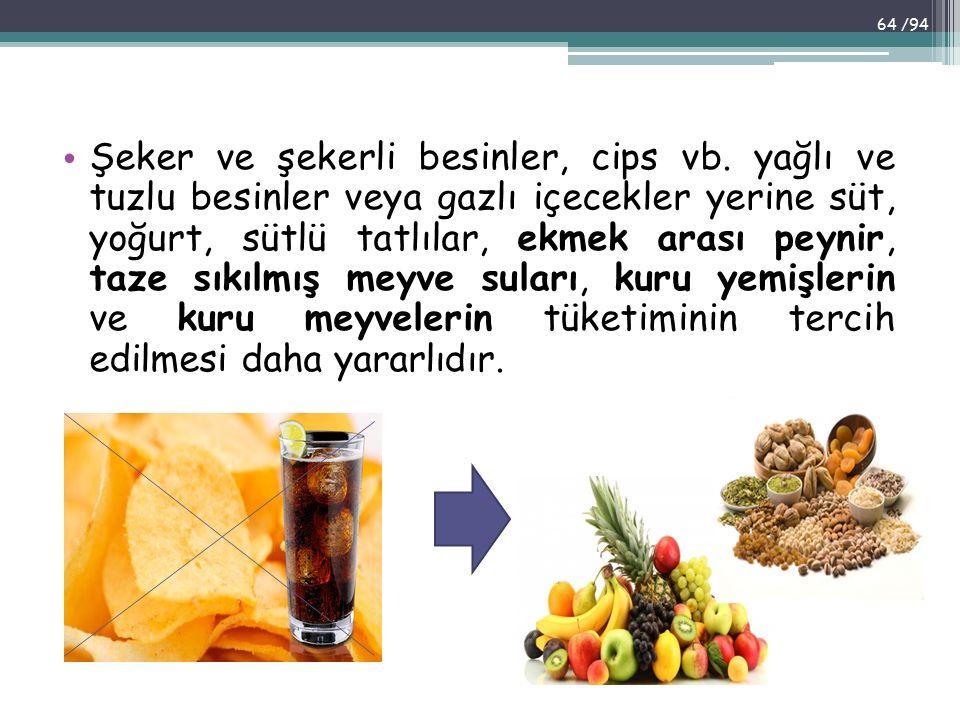 Şeker ve şekerli besinler, cips vb