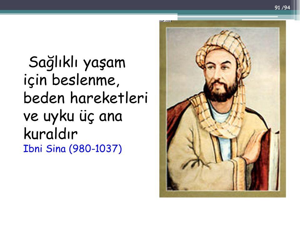 Sağlıklı yaşam için beslenme, beden hareketleri ve uyku üç ana kuraldır Ibni Sina (980-1037)