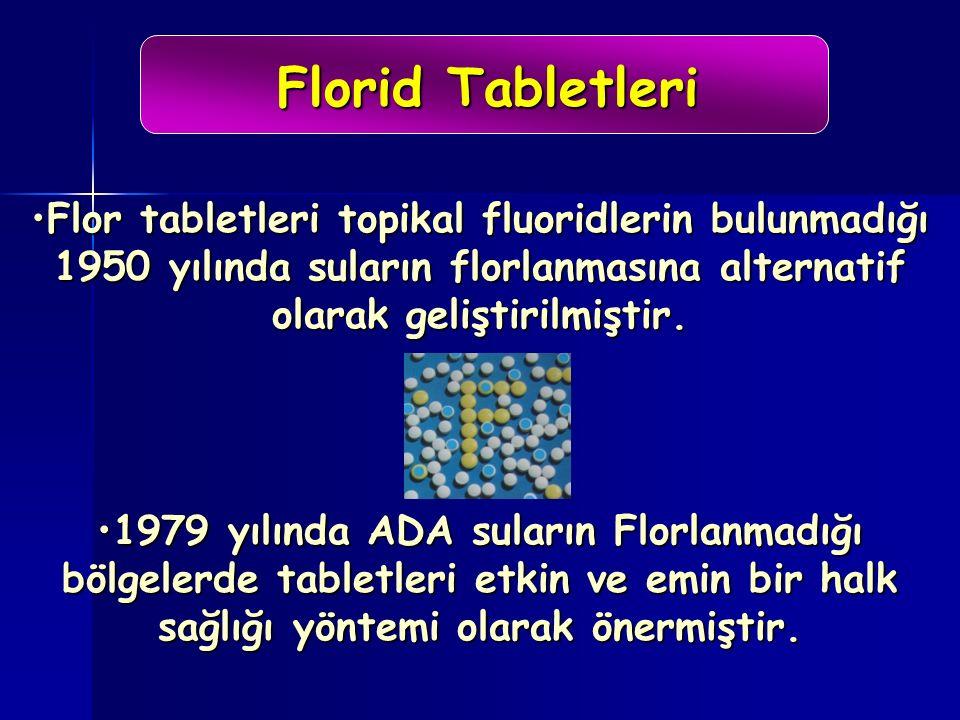 Florid Tabletleri Flor tabletleri topikal fluoridlerin bulunmadığı 1950 yılında suların florlanmasına alternatif olarak geliştirilmiştir.