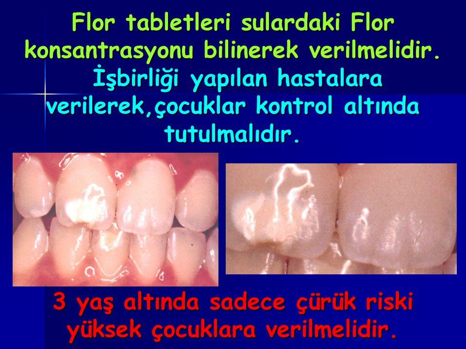Flor tabletleri sulardaki Flor konsantrasyonu bilinerek verilmelidir