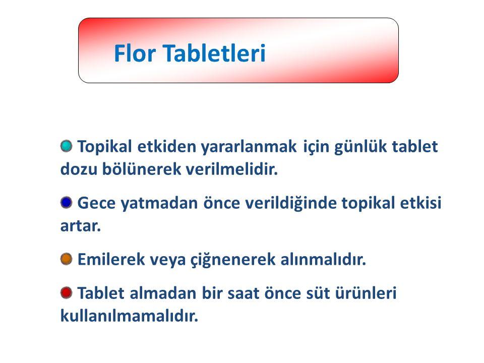 Flor Tabletleri Topikal etkiden yararlanmak için günlük tablet dozu bölünerek verilmelidir. Gece yatmadan önce verildiğinde topikal etkisi artar.