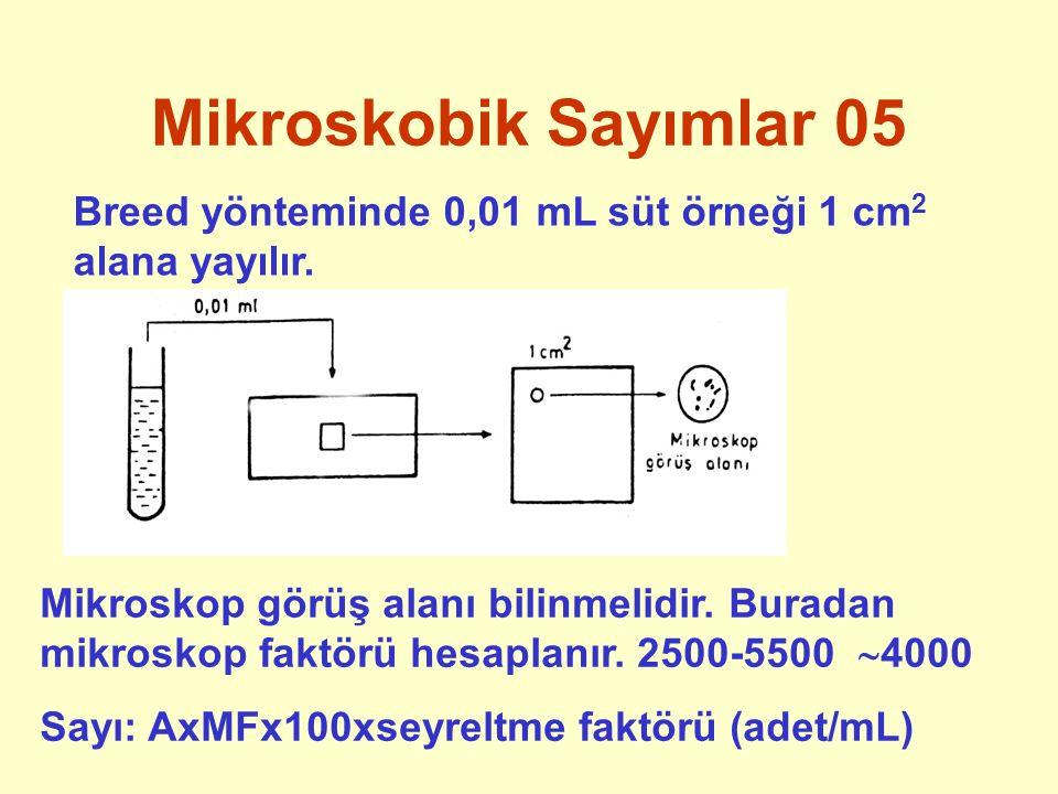 Mikroskobik Sayımlar 05 Breed yönteminde 0,01 mL süt örneği 1 cm2 alana yayılır.