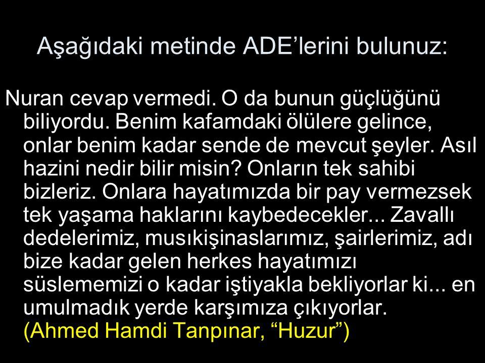 Aşağıdaki metinde ADE'lerini bulunuz: