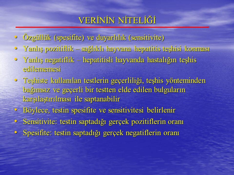 VERİNİN NİTELİĞİ Özgüllük (spesifite) ve duyarlılık (sensitivite)