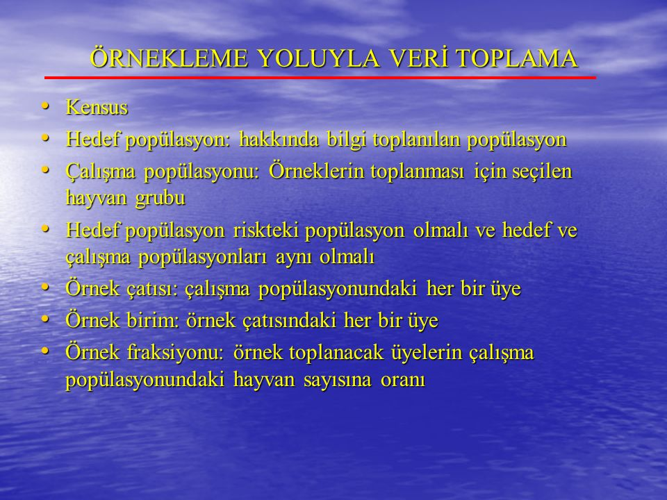 ÖRNEKLEME YOLUYLA VERİ TOPLAMA