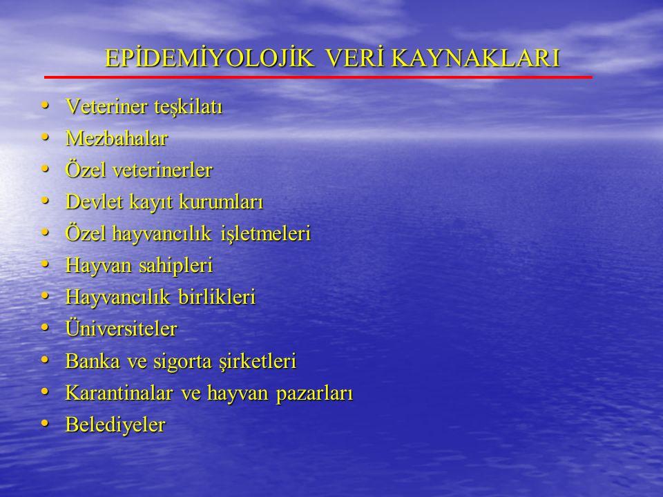 EPİDEMİYOLOJİK VERİ KAYNAKLARI