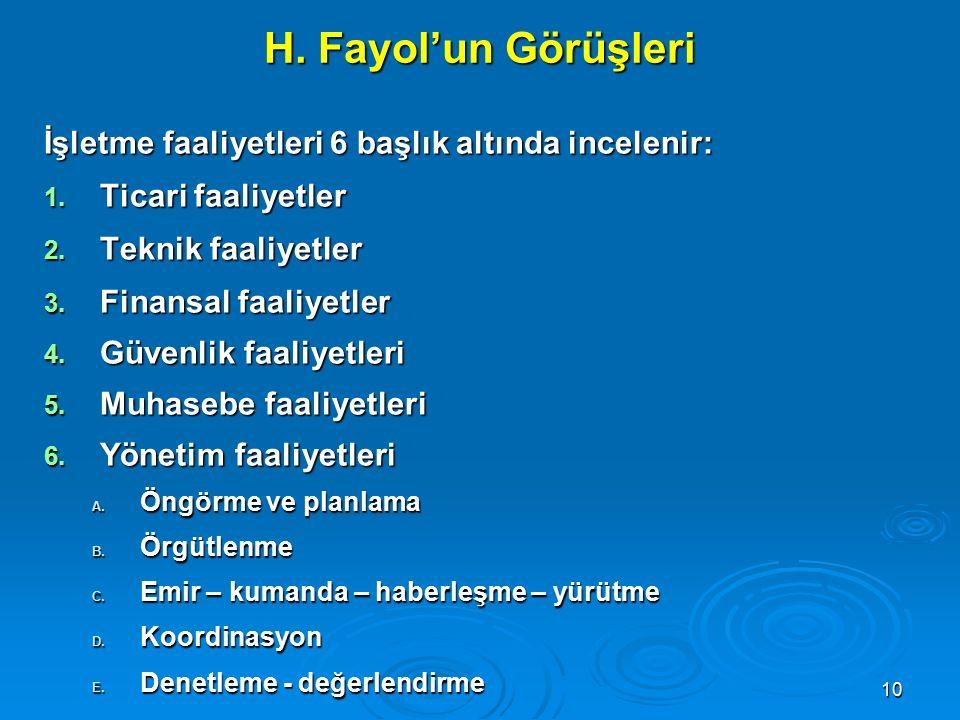 H. Fayol'un Görüşleri İşletme faaliyetleri 6 başlık altında incelenir: