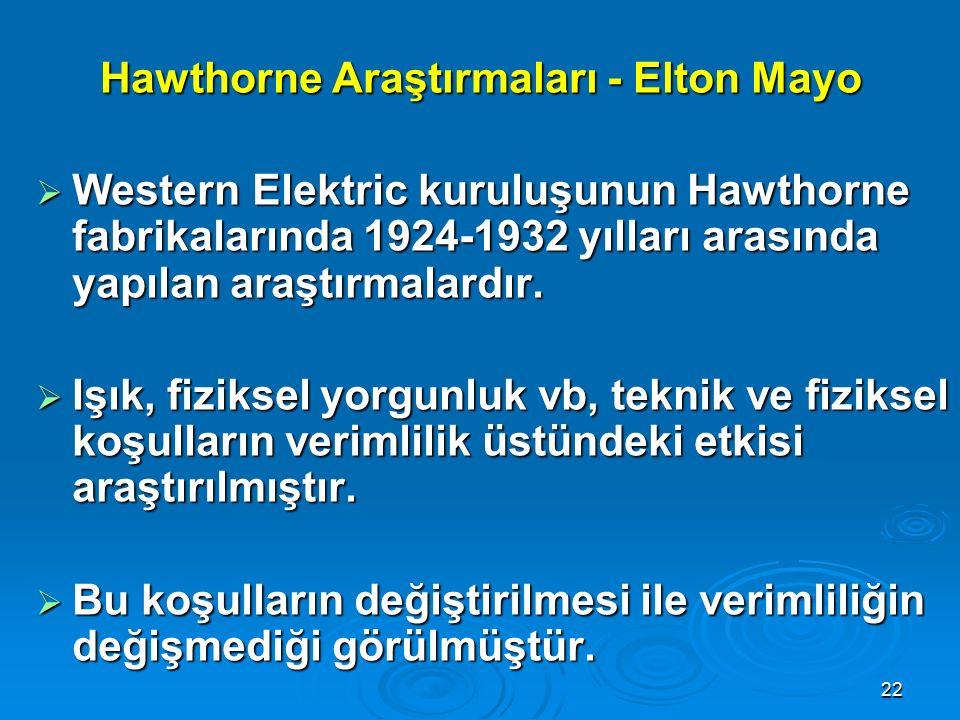 Hawthorne Araştırmaları - Elton Mayo