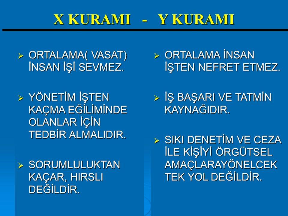 X KURAMI - Y KURAMI ORTALAMA( VASAT) İNSAN İŞİ SEVMEZ.