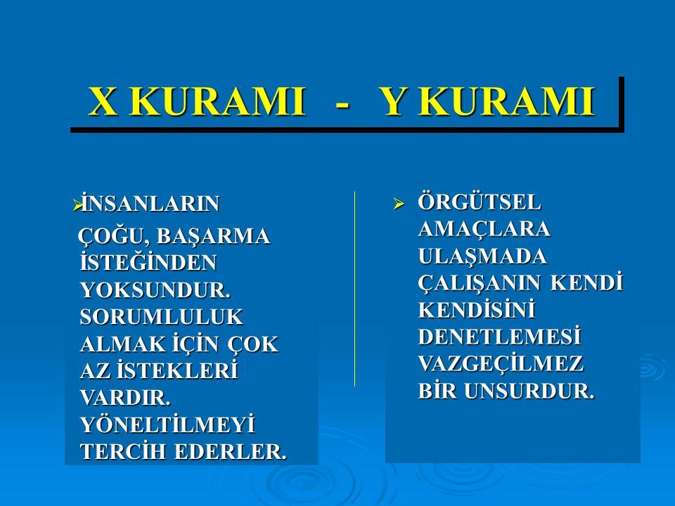 X KURAMI - Y KURAMI İNSANLARIN