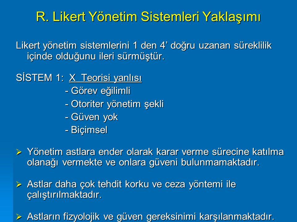 R. Likert Yönetim Sistemleri Yaklaşımı