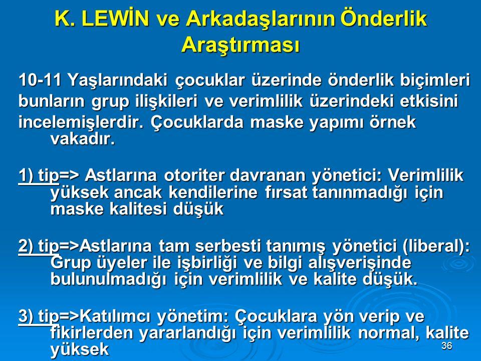 K. LEWİN ve Arkadaşlarının Önderlik Araştırması