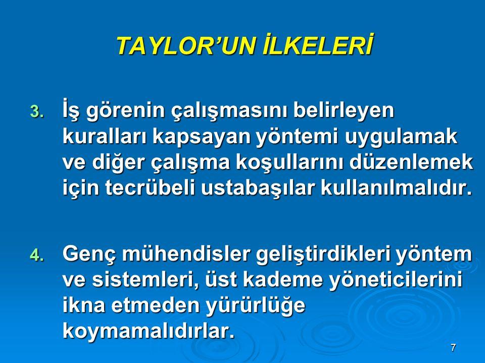 TAYLOR'UN İLKELERİ