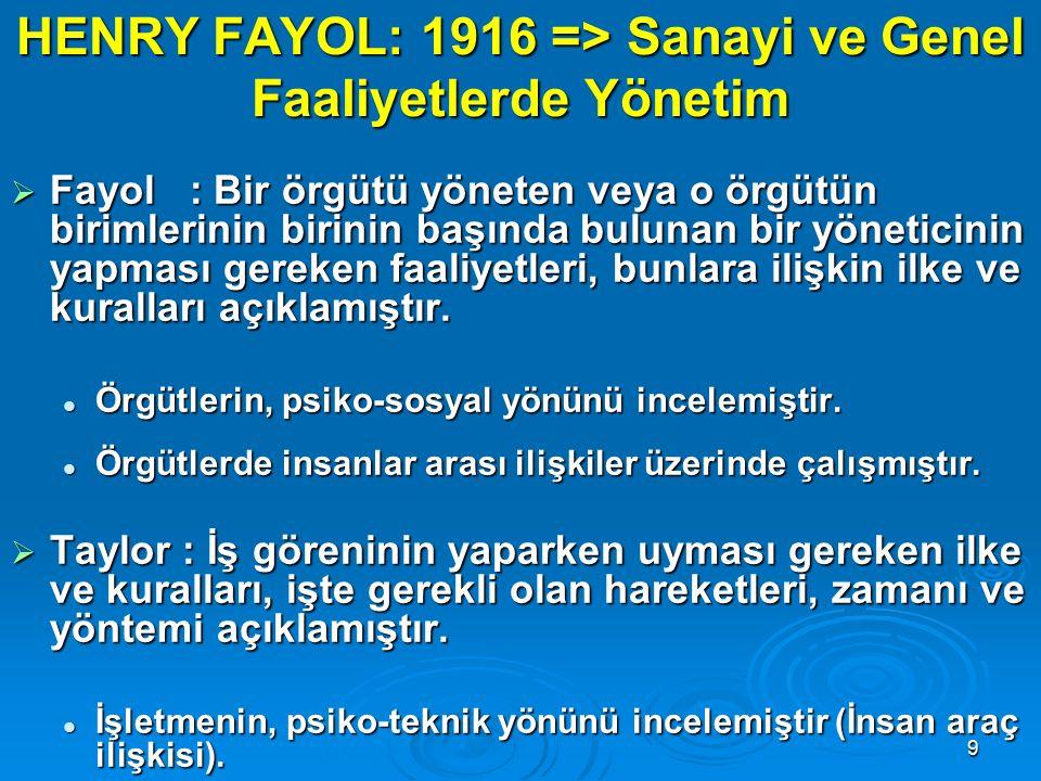 HENRY FAYOL: 1916 => Sanayi ve Genel Faaliyetlerde Yönetim