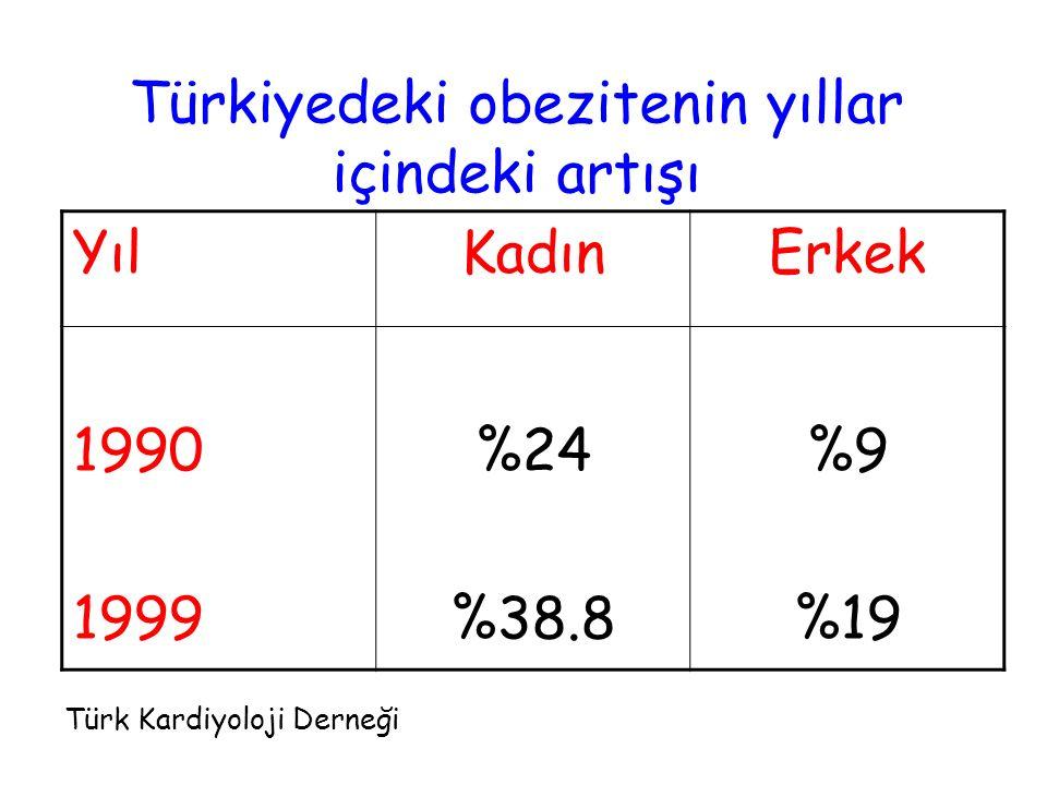 Türkiyedeki obezitenin yıllar içindeki artışı