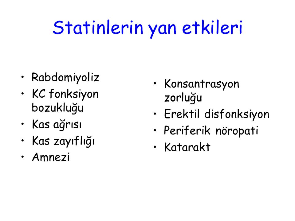 Statinlerin yan etkileri