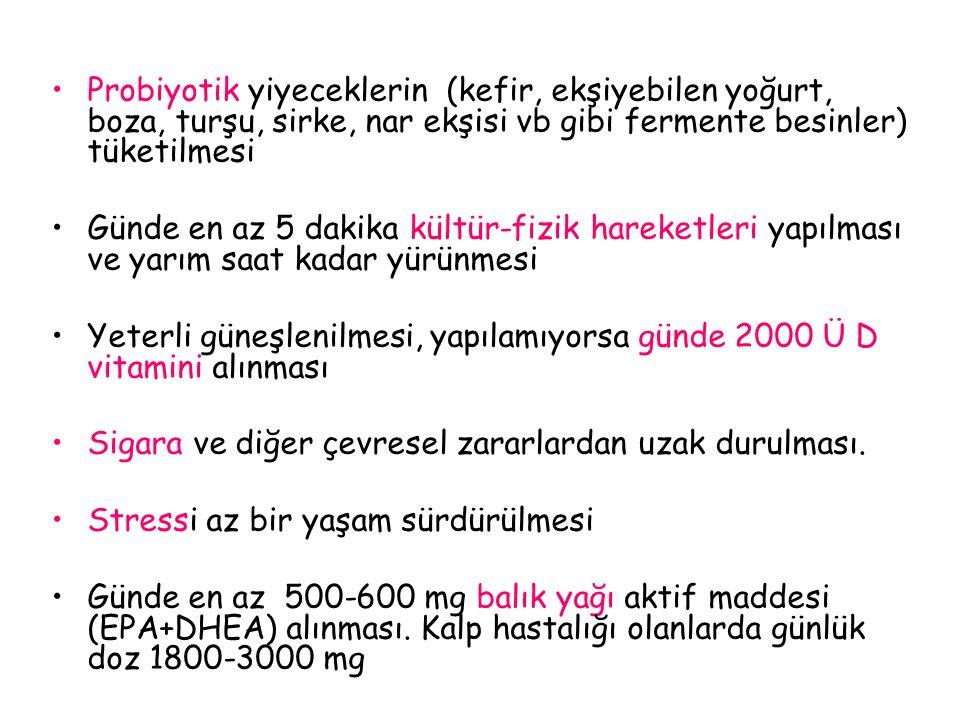 Probiyotik yiyeceklerin (kefir, ekşiyebilen yoğurt, boza, turşu, sirke, nar ekşisi vb gibi fermente besinler) tüketilmesi