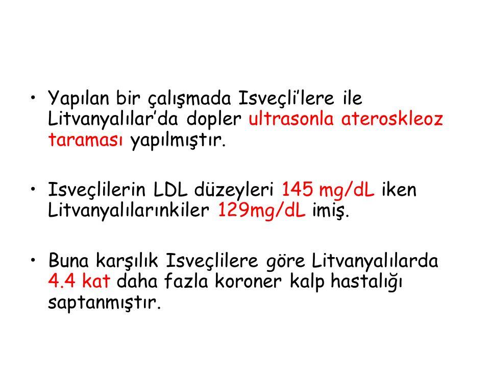 Yapılan bir çalışmada Isveçli'lere ile Litvanyalılar'da dopler ultrasonla ateroskleoz taraması yapılmıştır.