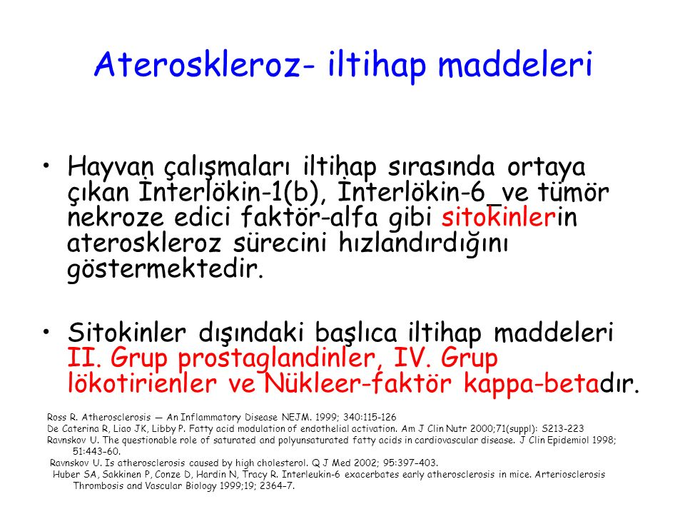 Ateroskleroz- iltihap maddeleri