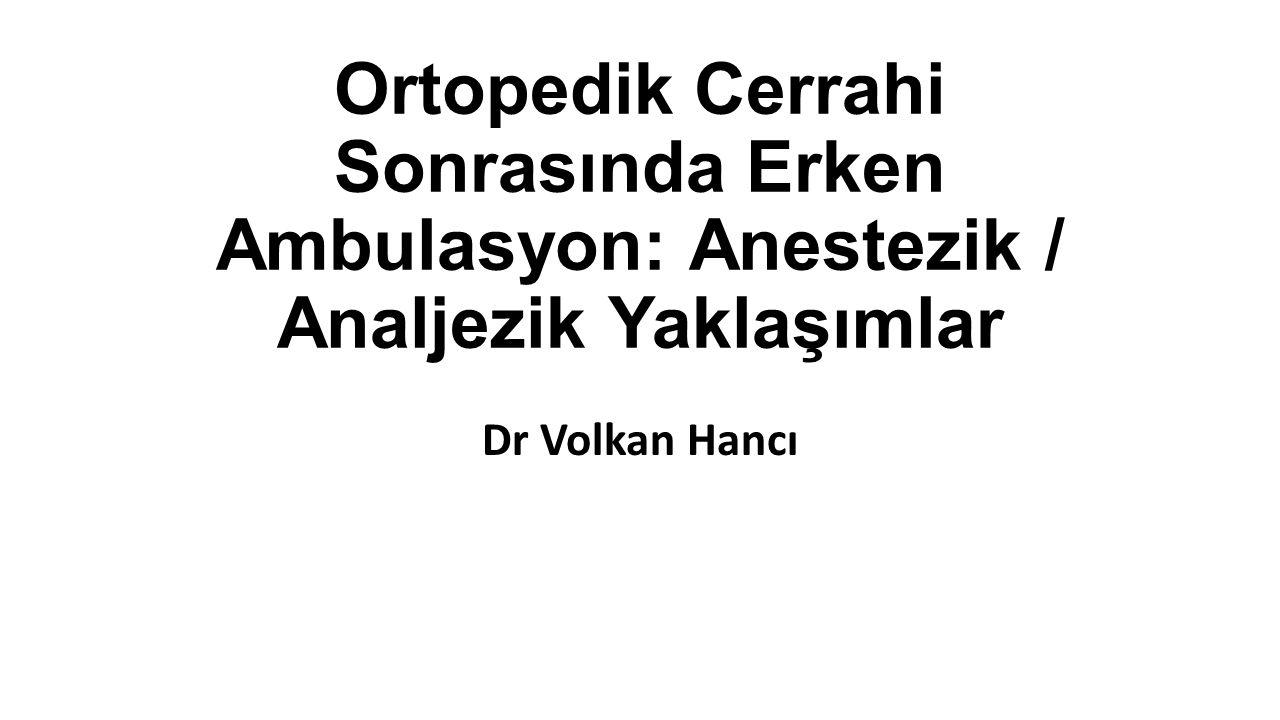 Ortopedik Cerrahi Sonrasında Erken Ambulasyon: Anestezik / Analjezik Yaklaşımlar