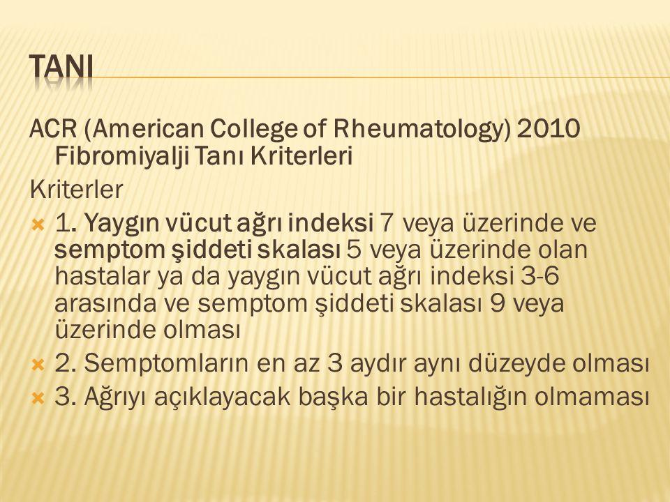 TANI ACR (American College of Rheumatology) 2010 Fibromiyalji Tanı Kriterleri. Kriterler.