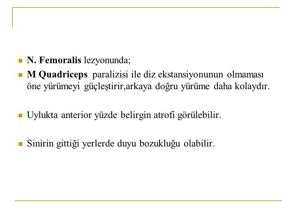N. Femoralis lezyonunda;
