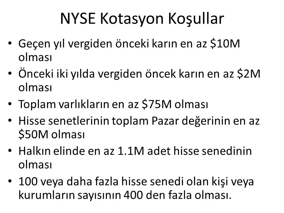 NYSE Kotasyon Koşullar