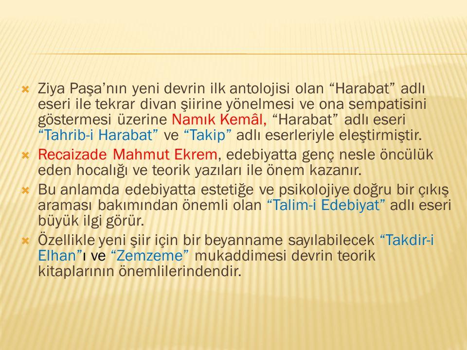 Ziya Paşa'nın yeni devrin ilk antolojisi olan Harabat adlı eseri ile tekrar divan şiirine yönelmesi ve ona sempatisini göstermesi üzerine Namık Kemâl, Harabat adlı eseri Tahrib-i Harabat ve Takip adlı eserleriyle eleştirmiştir.