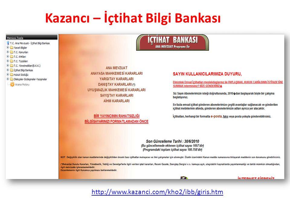 Kazancı – İçtihat Bilgi Bankası