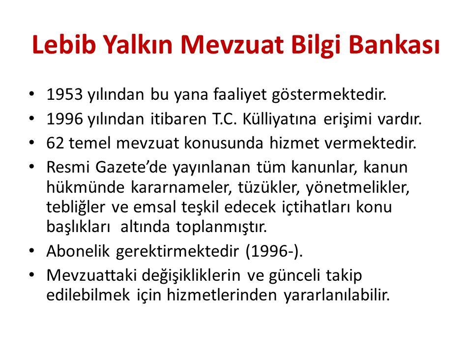 Lebib Yalkın Mevzuat Bilgi Bankası
