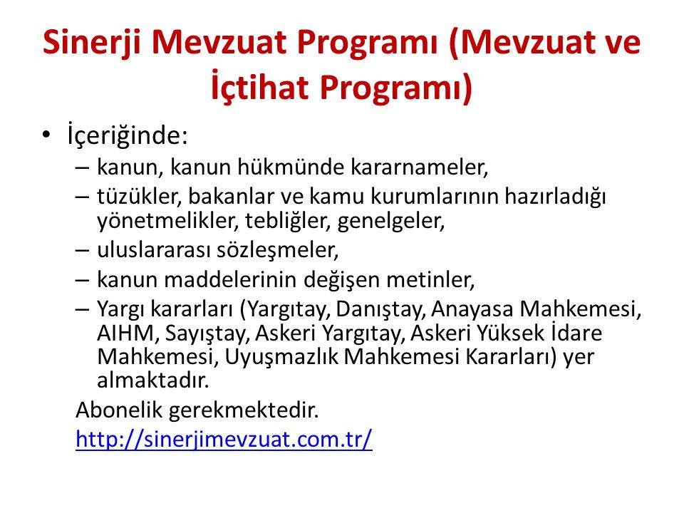 Sinerji Mevzuat Programı (Mevzuat ve İçtihat Programı)