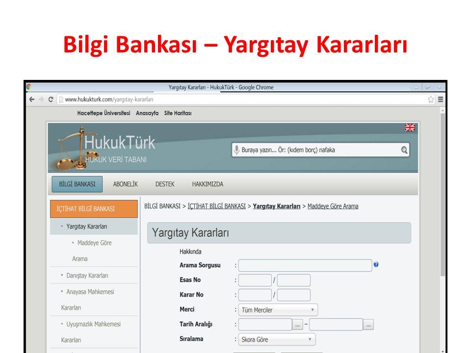 Bilgi Bankası – Yargıtay Kararları