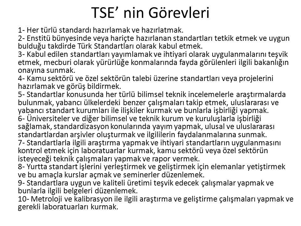 TSE' nin Görevleri