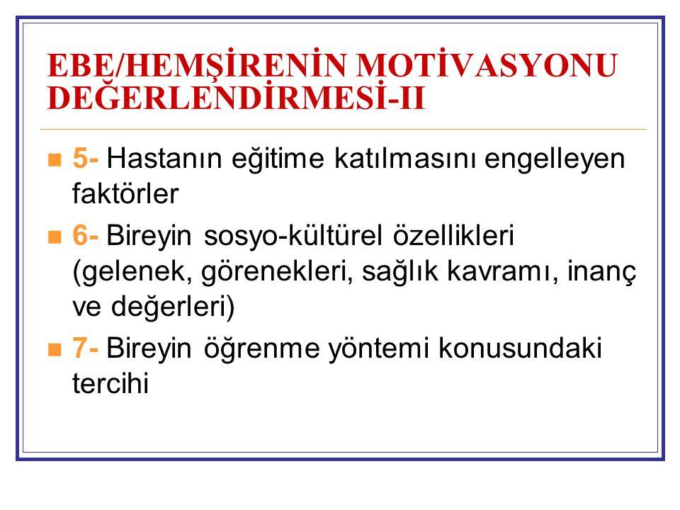 EBE/HEMŞİRENİN MOTİVASYONU DEĞERLENDİRMESİ-II