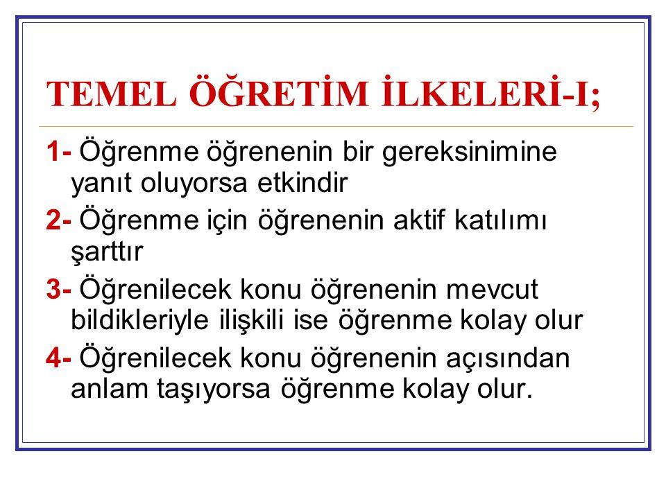 TEMEL ÖĞRETİM İLKELERİ-I;