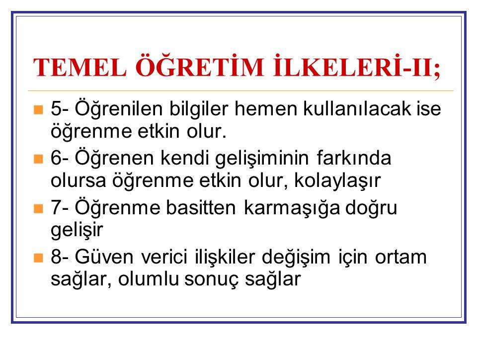 TEMEL ÖĞRETİM İLKELERİ-II;