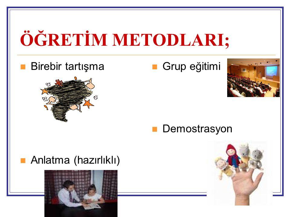 ÖĞRETİM METODLARI; Birebir tartışma Anlatma (hazırlıklı) Grup eğitimi