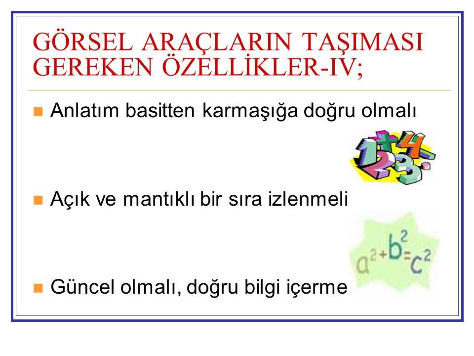 GÖRSEL ARAÇLARIN TAŞIMASI GEREKEN ÖZELLİKLER-IV;
