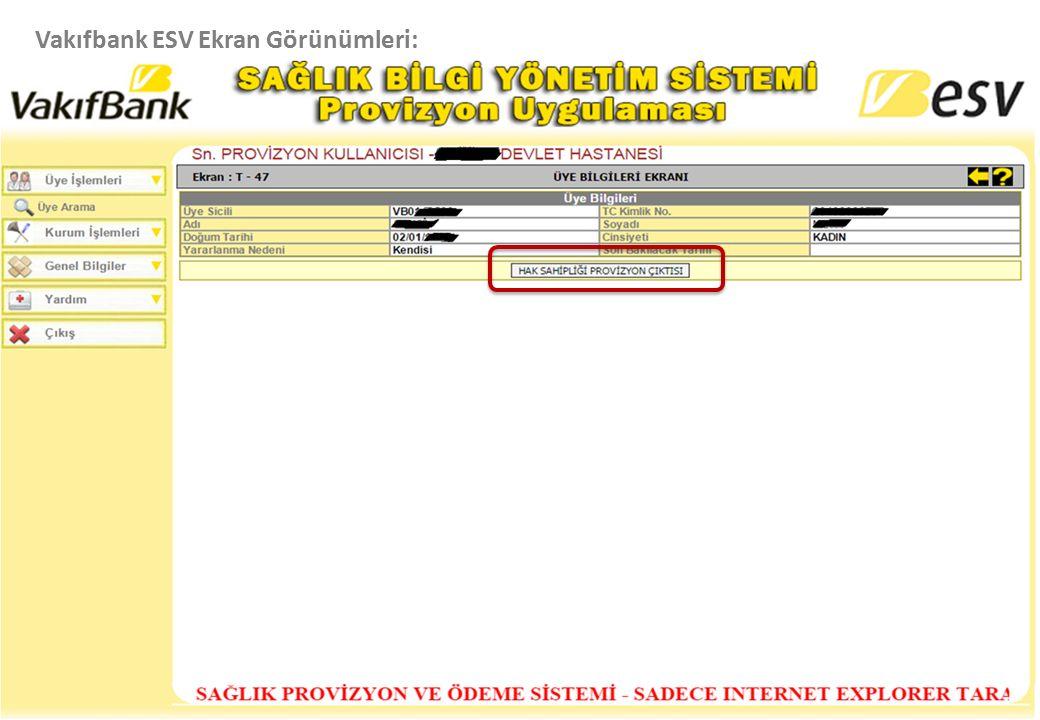 Vakıfbank ESV Ekran Görünümleri:
