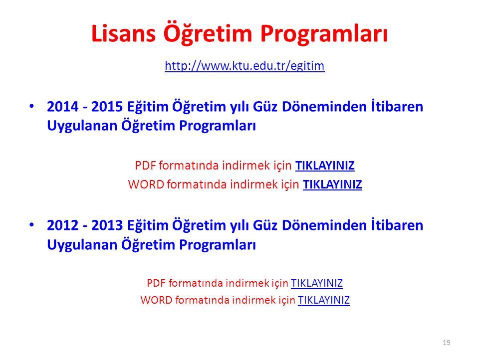 Lisans Öğretim Programları