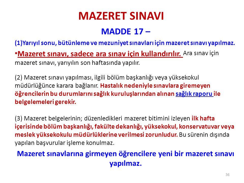 MAZERET SINAVI MADDE 17 – Yarıyıl sonu, bütünleme ve mezuniyet sınavları için mazeret sınavı yapılmaz.