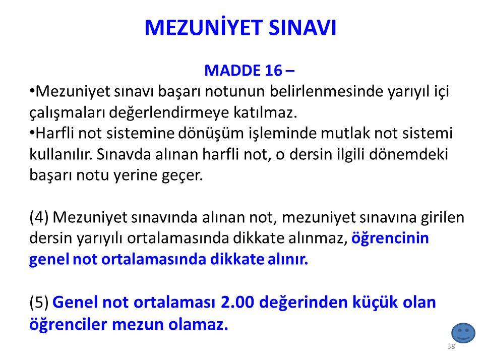 MEZUNİYET SINAVI MADDE 16 –
